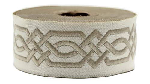 11 Yard Spool 1.37 inches Wide Beige Celtic Claddagh Ribbon Embroidered Woven Ribbon Jacquard Ribbon 35272