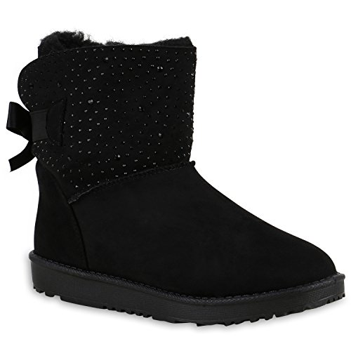 Warm Gefütterte Boots Schlupfstiefel Schleifen Pailletten Kunstfell Stiefel Booties Winterstiefel Schuhe 129170 Schwarz Schleife 37 Flandell