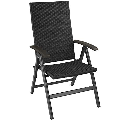 TecTake 800721 Garden Chair, Rattan Aluminium Frame, Backrest 5x Adjusted, 68x58x107,5 cm, Outdoor Indoor (Black | No. 403233)