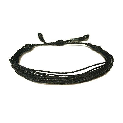 RUMI SUMAQ Black Rope String Bracelet - Unisex Handmade Multistrand Pull Cord Adjustable Black Awareness Beach Bracelet for Men and Women with for 6-7.5 Inch Wrist