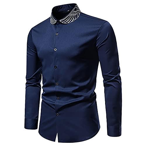 BGUK Camisa formal de manga larga para hombre, camisa para hombre, camisa de negocios, alas, botones bordados, estilo casual, camisa delgada, marine, L