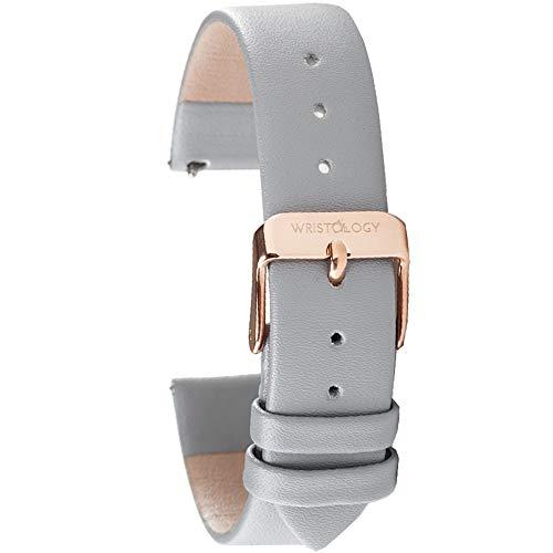 WRISTOLOGY レザー時計バンドストラップ クイックリリース メンズ レディース 交換用 カラーと幅14mm 16mm 18mm 20mm 22mm, グレー, 18, クラシック