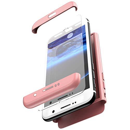 Robinsoni Funda Compatible con Samsung Galaxy S7 Edge Funda de PC híbrida 360 Grados Protección Case + Pantalla de Cristal Templado, 3 in 1 Anti-Arañazos Carcasa Case teléfonos Móviles, Oro Rosa