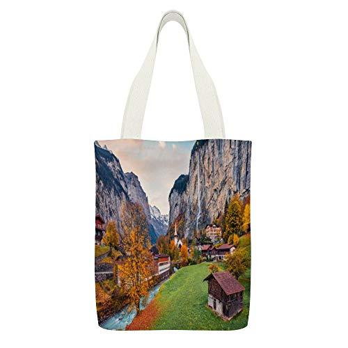 Sac fourre-tout en toile avec scène impressionnante des Alpes suisses, oberland bernois - Couleur : blanc - 15 - Réutilisable - Respectueux de l'environnement - Super résistant