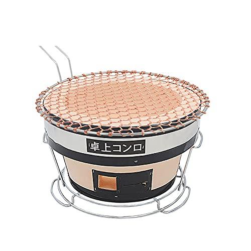 GJG Japanischer Keramik-Tongrill, Tragbar Grillen Holzkohlegrills, Tischgrill, Mit Intern Holzkohlenrost Und Stand, Für Outdoor Camping Kochen