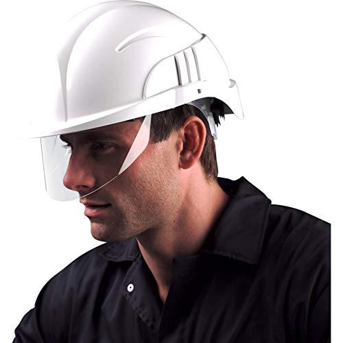 Centurion Vision Plus ABS Helmet w/Integrated Retractable Visor/Safety Glasses. Lightweight Design with Ratchet Headband - White