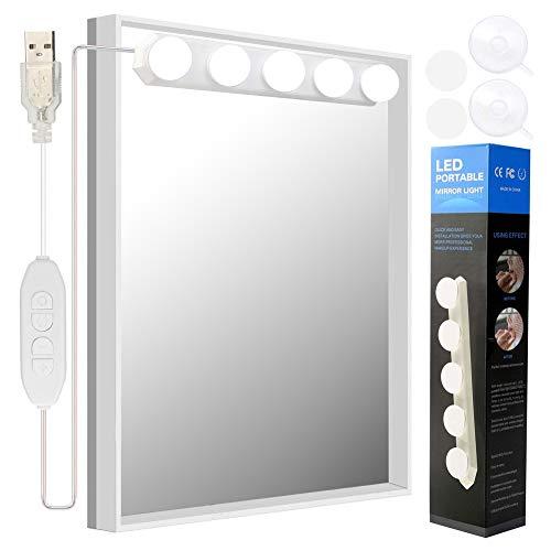 Led Spiegelleuchte, Hollywood Stil 5W Birne Dimmbar Schminklicht Spiegellampe Make-up Lampe, Beleuchtung Spiegel Lichter für Kosmetikspiegel Badzimmer, Farbtemperatur einstellbar