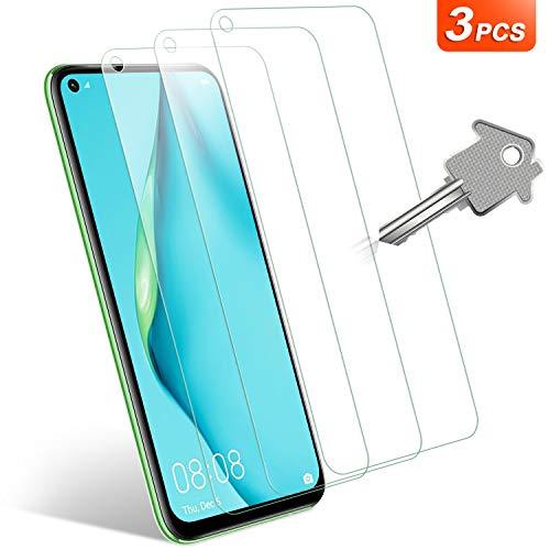 适用于华为P40 Lite钢化玻璃的Wonanse屏幕保护膜,[3片] [9H硬度] [高清] [无气泡] [易于安装] [友善保护套]适用于华为P40 Lite的膜