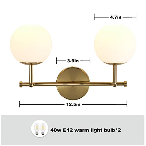 Mid Century Modern Wall Light Sconce,Golden Mounted Bathroom Vanity Lighting Double Ball Wall Light for Restaurant Living Room Bedside Stairs Bathroom Mirror (Include Bulb)