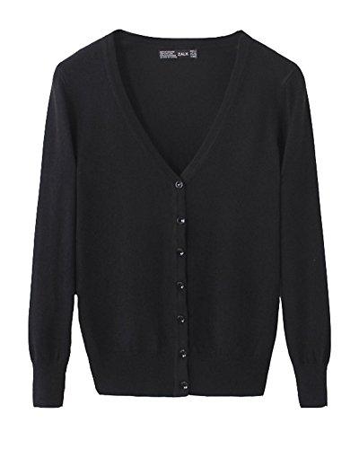 Classic Pink Donna Corta Cardigan Maniche Lunghe Scialle Slim Shawl Small Jacket Nero M