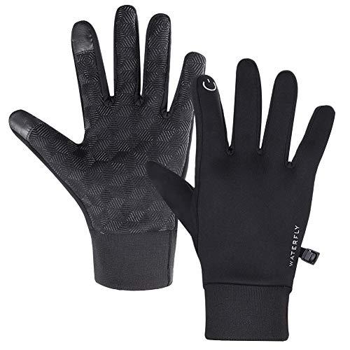 DEKINMAX Winter Handschuhe,Fahrradhandschuhe Touchscreen Handschuhe Winddicht Warme Handschuhe zum Radfahren Laufen Fitness Camping Wandern Reiten Bergsteigen Sport im Freien Damen Herren(Schwarz, L)