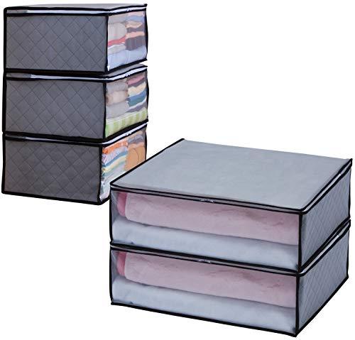 アストロ 収納ボックス 衣類用 5個 (衣類用3個+毛布用2個) グレー 不織布 活性炭消臭 171-27