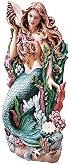 Design Toscano Melody's Cove Mermaid Coastal Decor Wall Sculpture, 29 Inch, Full Color