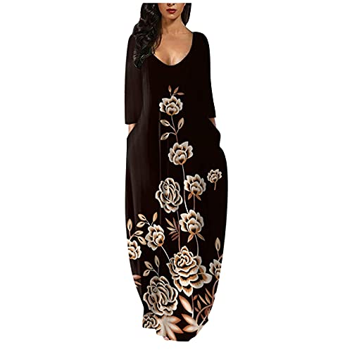 riou Vestido Mujer Bohemio Largo Otoño Playa Fiesta Casual Vestido de Cóctel de Noche/Color Sólido Falda Larga