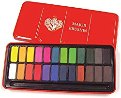 Durable metal tin containing 24 ready mixed watercolour paint blocks. DOES NOT INCLUDE PAINT BRUSH Set contains 24 colours: White, Lemon Yellow, Yellow Ochre, Peach Orange, Red Orange, Gamboge Hue, Crimson, Rose, Violet, Purple, Marine Blue, Turquois...