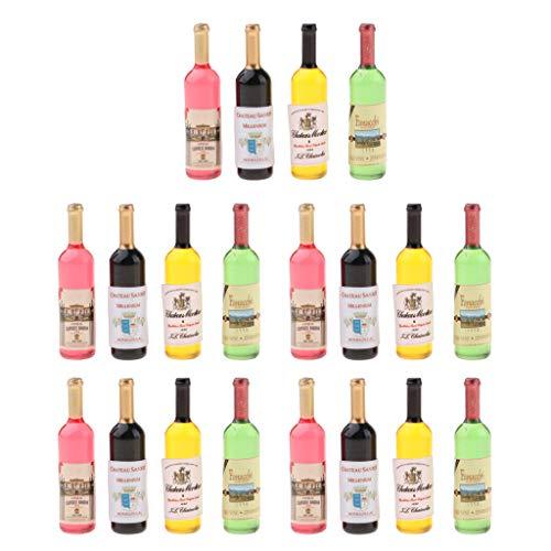 5 Set Botella de Vino en Miniatura Vaso de Bebida Copa de Champán Utensilio de Bar Pub Adorno para Casa de Muñecas 1/12