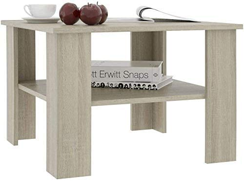 Coffee Table with Storage Shelf, Chipboard Coffee Table for Living Room Rectangle Tea Table Sofa Table for Office Bedroom, 23.6'x23.6'x 16.5'