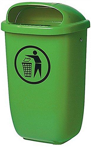 SULO Papelera 50 l plástico verde H650xB395xT250mm con capucha para la lluvia exterior Papelera