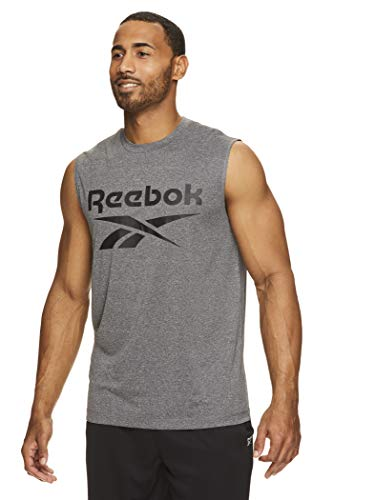 Reebok Men's Muscle Tank Top - Sleeveless Workout & Training Activewear Gym Shirt - Charcoal Heather Gladiator, Small