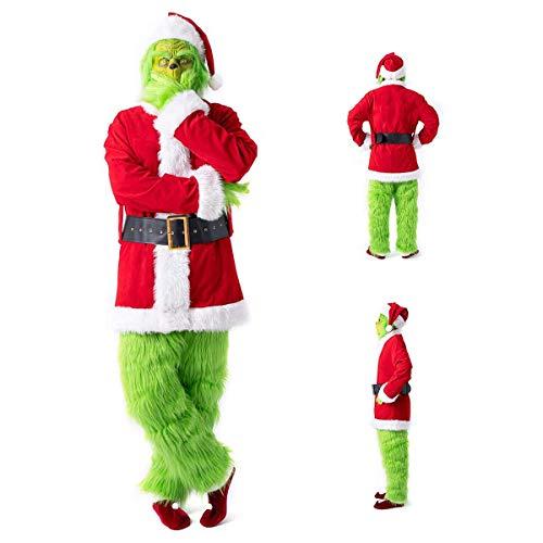 W-life 7pcs Costume Grinch Mostro Set for Adulti Natale Outfit Vestito Operato Vestito con Il Cappello della Santa, Maschera, Casacca, Cintura in Vita, Guanti, Pantaloni, Copriscarpe (Size : Medium)