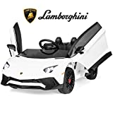 Best Choice Products Kids 12V Ride On Lamborghini Aventador SV Sports Car Toy w/ Parent Control, AUX Cable, 2 Speeds, LED Lights, Sounds - White