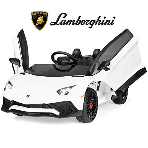 Best Choice Products Kids 12V Ride On Lamborghini Aventador SV Sports Car Toy w/ Parent Control, AUX Cable, 2 Speeds, LED Lights, Sounds - White