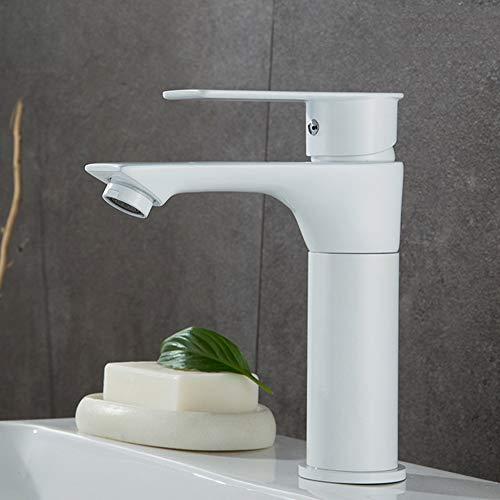 QCSMegy Silver White Copper Body Lift Pull Basin Cuenca Hot and Cold Water Faucet Engrosamiento Baño Inodoro Retráctil Rotación Champú (Color : White)