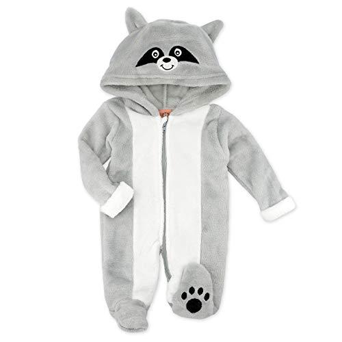 Cheeky Chimp Baby Overall grau | Motiv: Waschbär | Tierstrampler mit Kapuze für Neugeborene & Kleinkinder | Größe: 6-9 Monate (74)