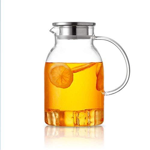 HJYSQX Hervidor de Agua de Vidrio de 2.0 L/L, Jarra de Agua de Salida Grande, Recipiente Transparente a Prueba de Agua, Jarra con Manta, Jarra de Tetera Adecuada para Jugo/té de Flores (Maceta