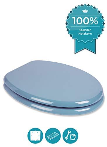 Calmwaters® WC Sitz Bermuda-Blau mit Holzkern Modern Wellness, Metallbefestigung, universale O-Form, stabiler Holzkern Toilettendeckel, Komfort Klodeckel, Toilettenbrille oval, Bermuda-Blau, 26LP2764
