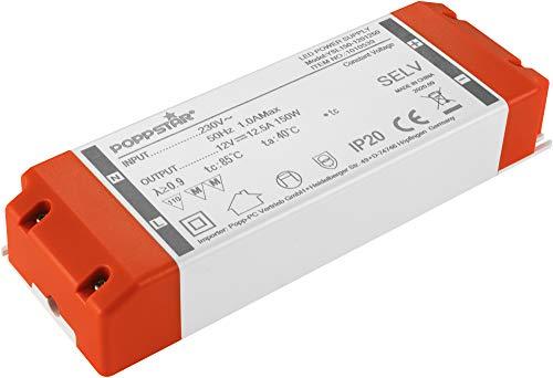 Poppstar LED Trafo Transformator 230V AC / 12V DC 12,5A für 1,5 W bis 150 Watt LEDs