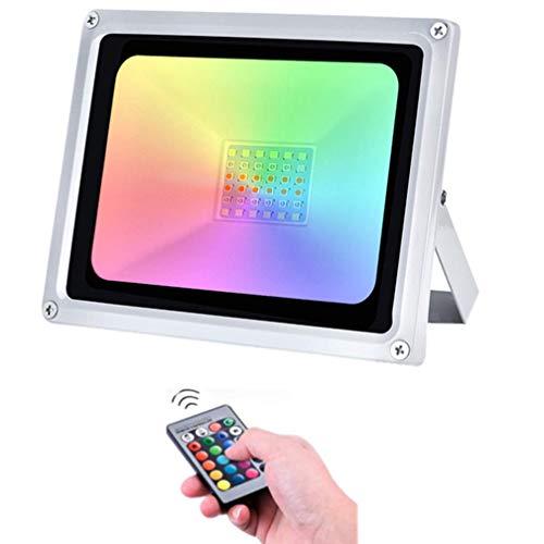 LED RGB Luces de Inundación de 30W con control remoto 2400LM IP65 Focos de Exterior Impermeables Adecuados para Jardín, Paisaje, Escenario, Calles