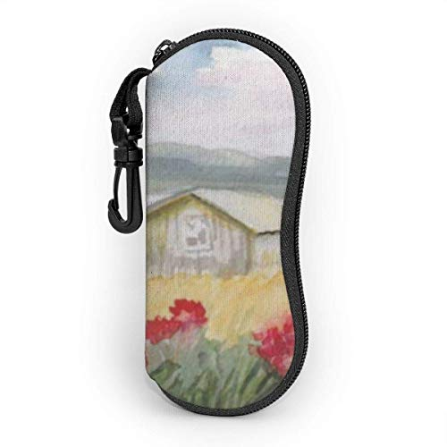 AOOEDM Sonnenbrillenetui mit Karabinerhaken, tragbaren Gläsern Softcase Aquarellstil Natural Life House und Color Flower Landscape