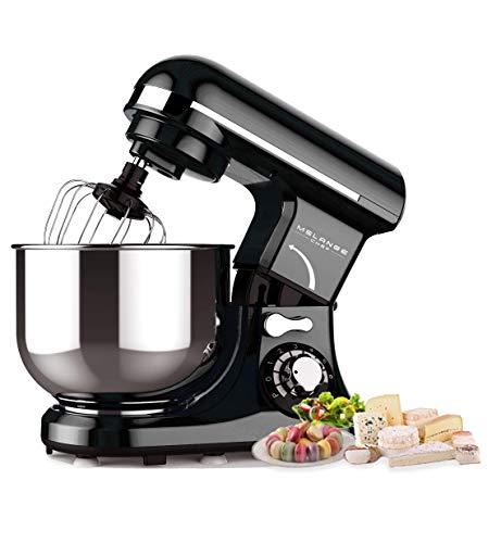 Küchenmaschine Schwarz 600W, 3 Hauptfunktionen(kneten,mixen,schneebesen), 4L Edelstahlschüssel, 7 Geschwindigkeiten mit LED Anzeige Knetmaschine, Mixer Küchenmaschine, Teigmaschine, Standmixer