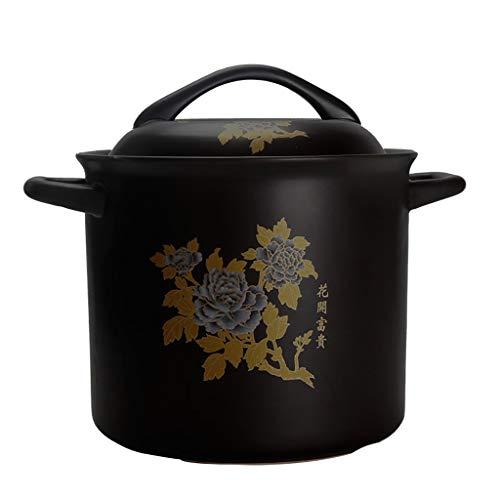 Faitout Casserole en céramique Cocotte feu ouvert Pot à haute température marmite à soupe Santé Casserole Grande Marmite ronde 6L Céramique cocotte staub