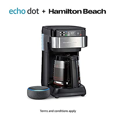 Hamilton Beach Works with Alexa Smart Coffee Maker with Echo Dot (3rd Gen) by