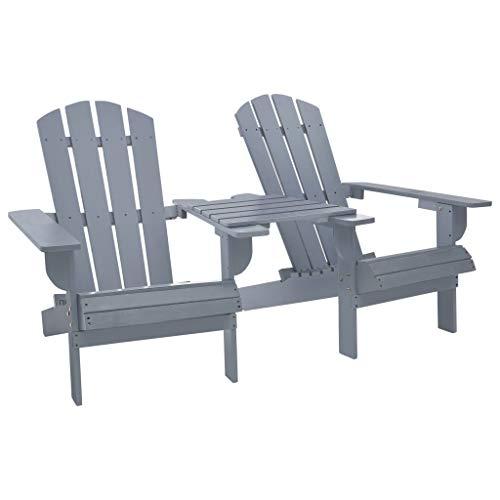 vidaXL - Silla de jardín de madera de abeto maciza Adirondack, silla de jardín, silla de terraza, silla de balcón, silla de jardín, silla de jardín, silla de jardín, color gris
