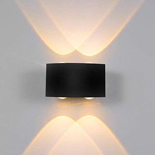 VKTECH LED Wall Sconce Lamp IP65 Waterproof Bedside Spot Light for Garden Hallway Staircase Corridor Bedroom Living Room Decor, Warm White, 4W Black