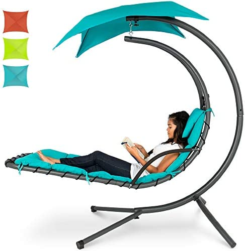 Best Best Choice Products Hanging Curved Chaise Lounge Chair Swing for Backyard, Patio w/Pillow, Canopy,