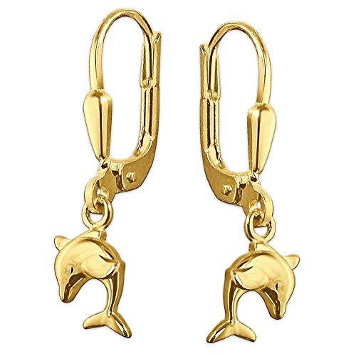 Clever Schmuck Goldene Kinder Damen Ohrhänger 23 mm kleiner Mini Delfin 8 mm beidseitig plastisch, schlicht und glänzend 333 GOLD 8 KARAT