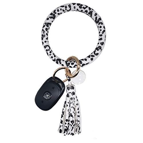 AnnabelZ Schlüsselanhänger Armband Armband Armreif Schlüsselhalter Rund Schlüsselanhänger Leder Quaste Schlüsselanhänger Kette für Frauen Mädchen, Schwarz gepunktet, Small