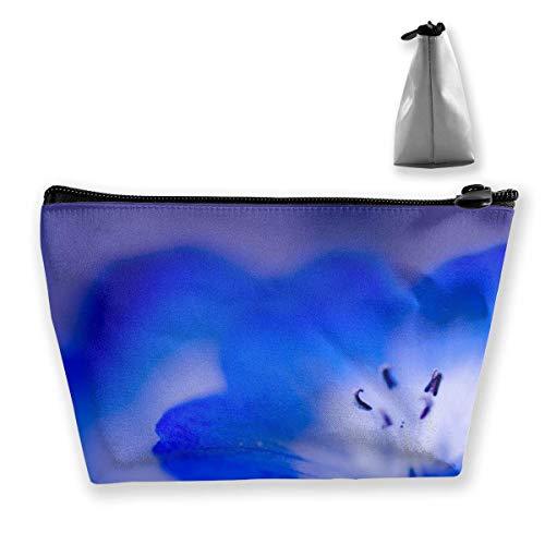Grande trousse de maquillage trapézoïdale avec fermeture éclair et motif floral bleu