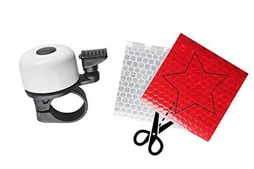 Mini Fahrradklingel - weiß - inkl. 2er-Set Selbstklebende Reflektoren - ideal für Kinder und Erwachsene - klingelt laut und klar - passend für alle Standardlenker - gefertigt aus Aluminium