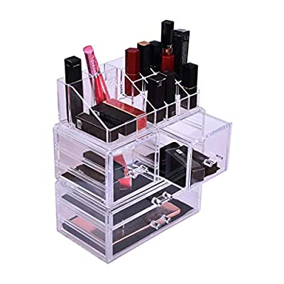 Iusun Makeup Storage Stand Drawers Jewelry Box Organizer Crate Cosmetics All-in-one Saving Space Desktop Container Supplies Multipurpose Desk Decoration -Ship from USA