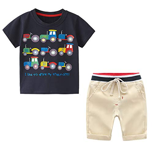 Bebés Niño Trajes de Bautizo 2 Piezas Coche Print Camiseta + Pantalones Cortos Niños Ropa de Pascua