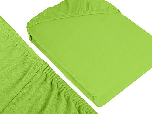 npluseins klassisches Jersey Spannbetttuch – erhältlich in 34 modernen Farben und 6 verschiedenen Größen – 100% Baumwolle, 70 x 140 cm, apfelgrün - 3