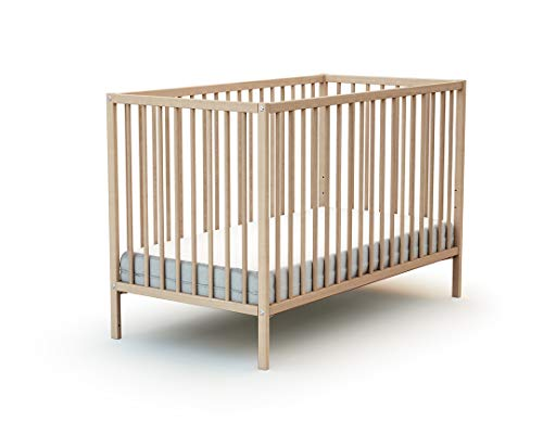 Lit bébé 60x120 WEBABY Hêtre Brut