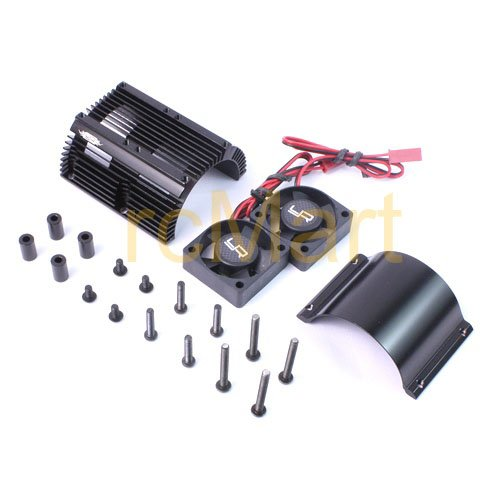 Yeah Racing Heat Sink with Twin Tornado High Speed Fans sets for 1:8 Motors with around 40.8mm diameter #YA-0261BK