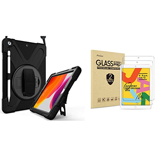 ProCase iPad 10.2 Case 2019 7th Gen iPad Case Rugged Heavy Duty Bundle with 2 Pack iPad 10.2 7th Gen Tempered Glass Screen Protector