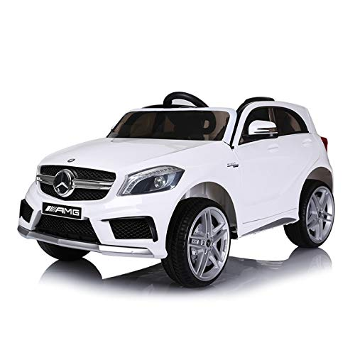 Mercedes A45 Licenciado 12v - Blanco - Coche eléctrico para niños A45 con Mando,Luces LED, Asiento Piel, Ruedas EVA y Mucho más - ATAA